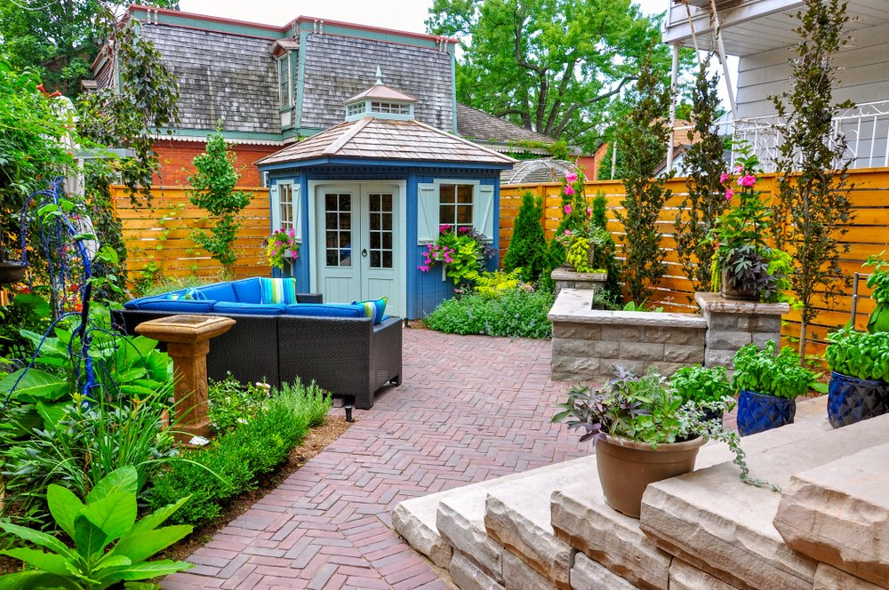 beautiful backyard with hardscaping in asheville nc